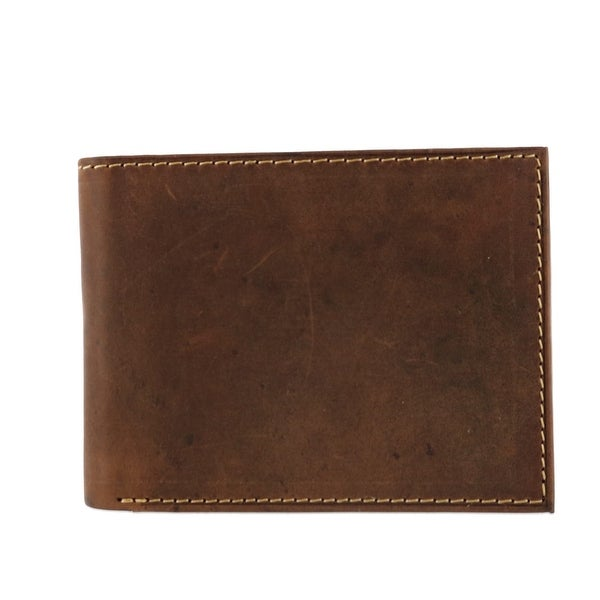 CTM® Men's Hunter Leather Distressed RFID Bifold Wallet with Interior Zipper - one size