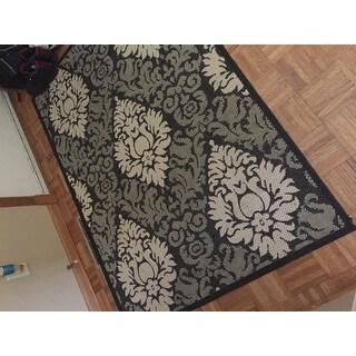 Safavieh St. Barts Damask Black/ Sand Indoor/ Outdoor Rug