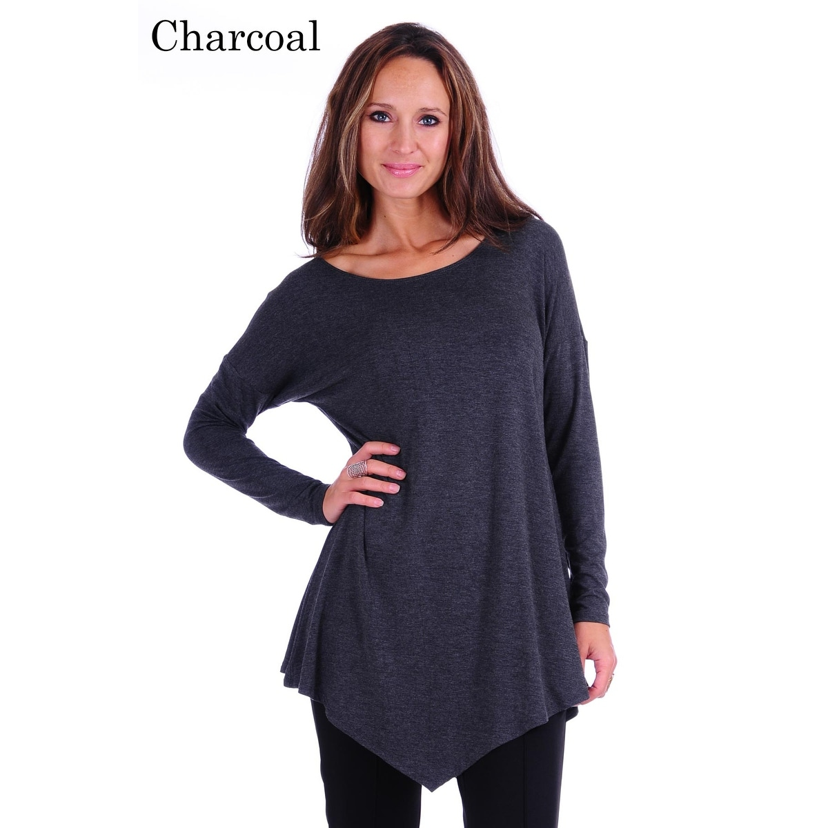Simply Ravishing Women's Assymetrical Front/Back Handkerchief Hem Long Sleeve Tunic Top - Thumbnail 7