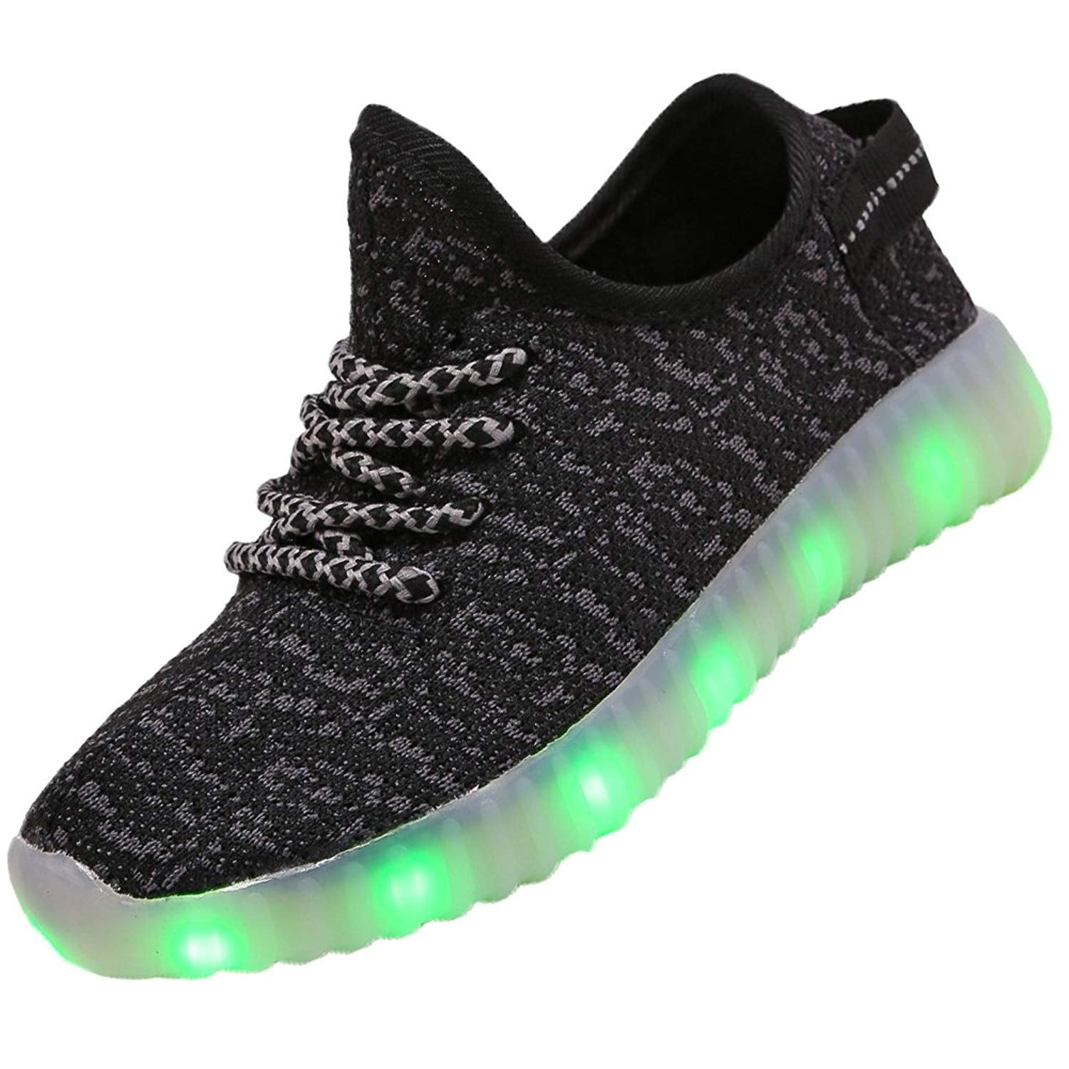 laideqi Kids Boys Led Flash Sneakers Girls Breathable Light Up USB Running Shoes