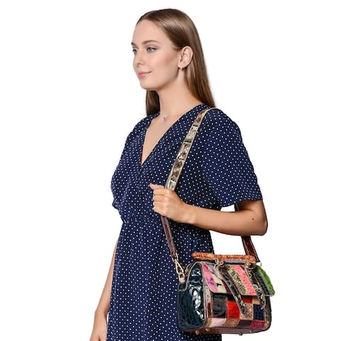 CHAOS BY ELSIE Multi Color Stripe Genuine Leather Convertible Tote Bag - 11.5x4.5x9 inches