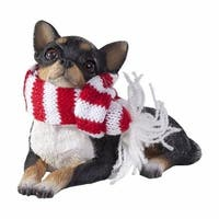 Lying Tri Chihuahua With Red And White Scarf Christmas Ornament