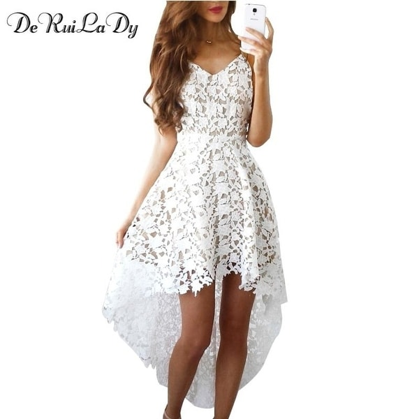 4fca861d24a7a Deruilady Summer Fashion Women Hot Dress Boho Casual Mini Bodycon Dresses  Women White Hot Lace Beach Maxi Dress Vestidos