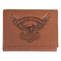 "Harley-Davidson Men's Eagle Emboss Leather Tri-Fold Wallet, Brown EE9052L-SCOTCH - 4.75"" x 3.75"""