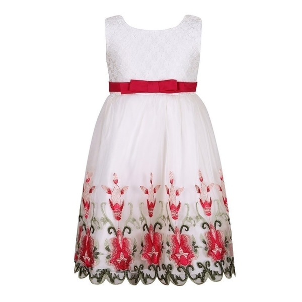 4a18aa0fa4af Shop Richie House Little Girls White Red Bow Princess Flower Girl Dress - Free  Shipping On Orders Over $45 - Overstock - 18175478