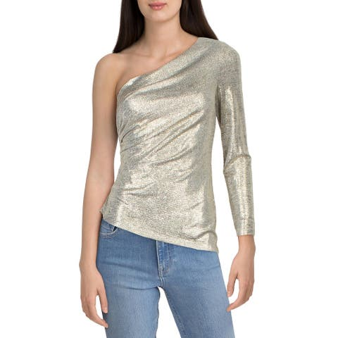 Adrianna Papell Womens Top Metallic One Shoulder - Light Gold