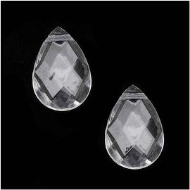 Clear Acrylic Large Faceted Briolette Beads - 27.5x18.5mm (12 Pieces)