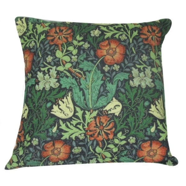 William Morris Antique Orange Design Decorative Accent Throw Pillow Cover  18u201d
