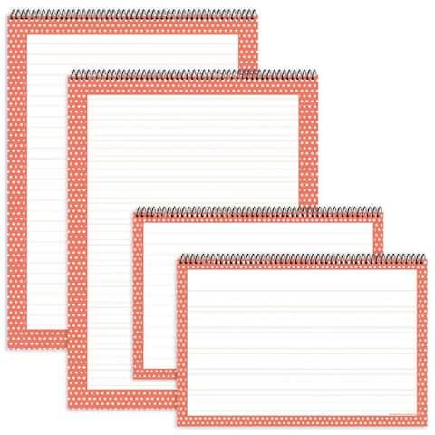 Coral Polka Dot Chart Tablets 4Pk