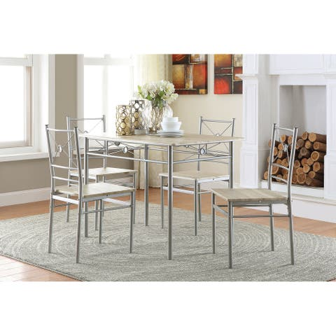 Silver Orchid Smolova Transitional brushed Silver 5-piece Dining Set