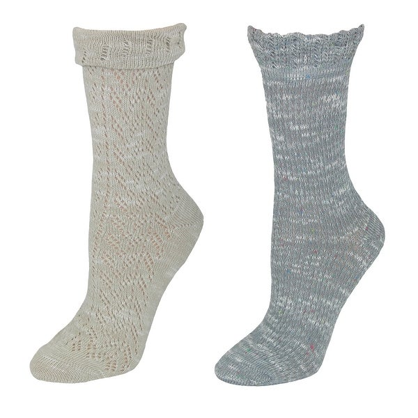 Gold Toe Women's Herringbone Crochet Crew Socks (2 Pair Pack)