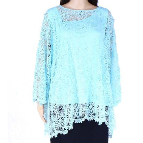 Ruby Rd. Women's Top Blue Size 2X Plus Crochet Overlay 3/4 Sleeve