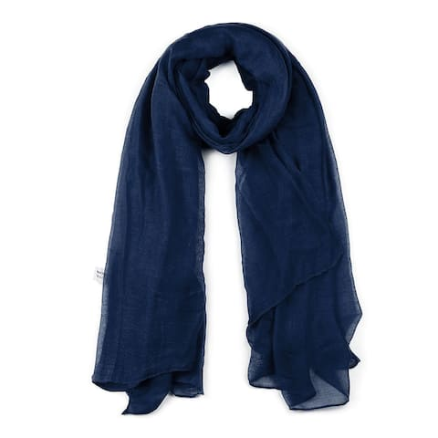"""Long Warm Shawl Large Soft Solid Color Scarf for Women Men Navy Blue-2 - Navy Blue - 75""""x 39"""""""