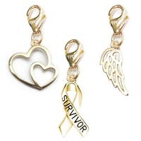 Julieta Jewelry Survivor Awareness Ribbon, Double Heart, Angel Wing 14k Gold Over Sterling Silver Clip-On Charm Set