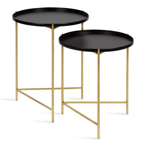 Kate and Laurel Ulani Set of 2 Nested Round Metal End Tables