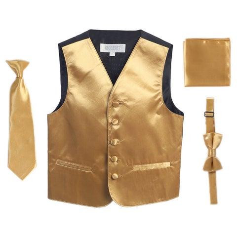 Gold Vest Necktie Bowtie Pocket Square Boys Set 8-14