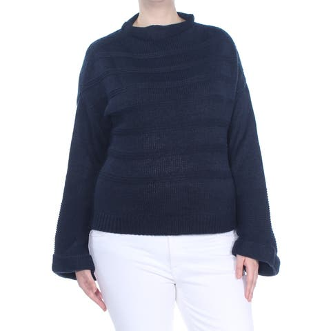 JESSICA SIMPSON Womens Navy Ribbed Bell Sleeve Sweater Size: XL