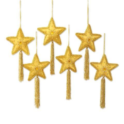 NOVICA HandmadeGolden Star Embellished ornaments (set of 6)
