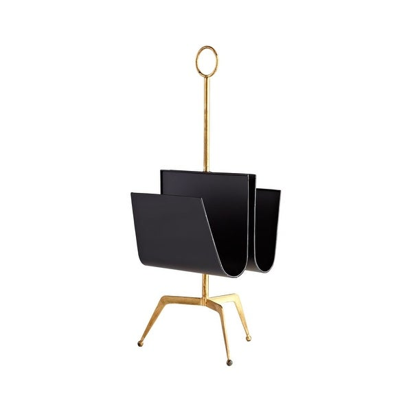 "Cyan Design Siamese Twin Magazine Holder Siamese Twin 30.5"" Tall Iron Magazine Rack - Black and Gold - N/A"