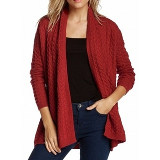 Joan Vass NEW Red Women's Size Medium M Cable Knit Cardigan Sweater