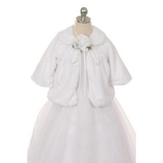 Kids Dream White Faux Fur Special Occasion Half Coat Girls 4-10