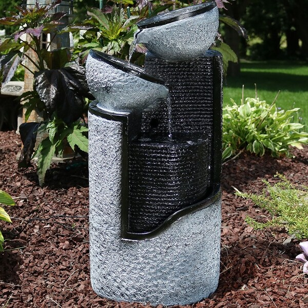 Sunnydaze Gray Stone Pillar and Silver Bowls Solar-on-Demand Fountain - 27-Inch
