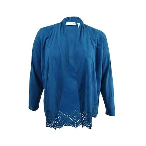 Alfred Dunner Women's Faux-Suede Cutout Jacket (10, Lapis) - Lapis - 10