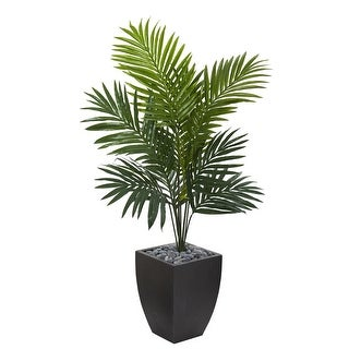 Nearly Natural 4.5' Kentia Palm Artificial Tree in Black Wash Planter