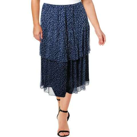 Lauren Ralph Lauren Womens Plus Aubrianna Midi Skirt Floral Tiered - Blue