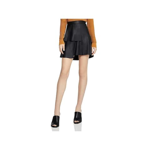 BCBGeneration Womens A-Line Skirt Faux Leather Ruffle