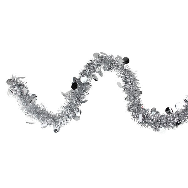 50' Traditional Silver Christmas Tinsel Garland with Shiny Polka Dots - Unlit