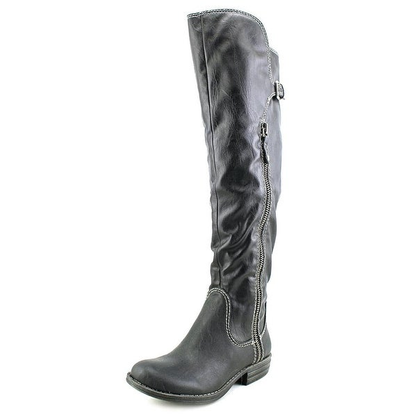 American Rag Duncan Women Round Toe Leather Black Over the Knee Boot