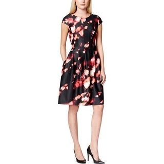 Calvin Klein Womens Petites Casual Dress Printed Cap Sleeves