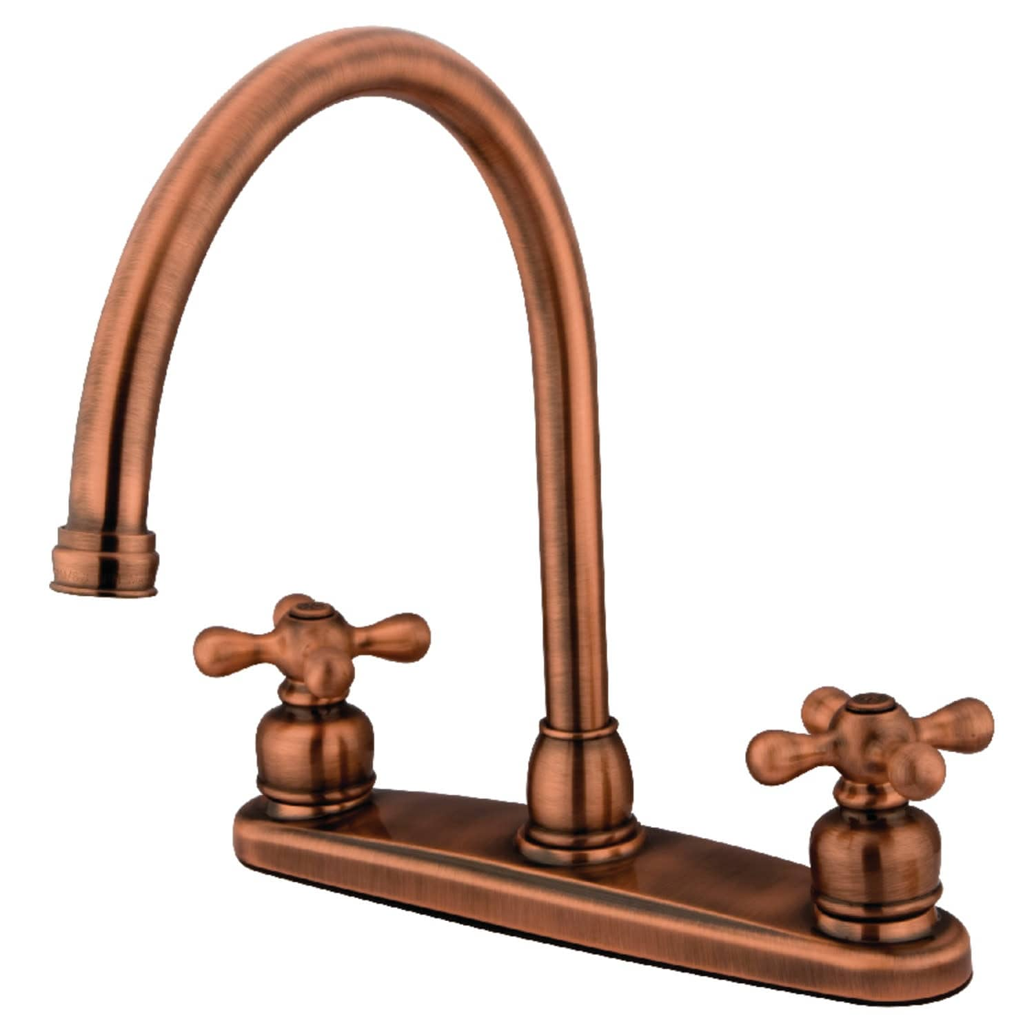 Kingston Brass Kb72 Axls 1 8 Gpm Widespread Kitchen Faucet With Cross Antique Copper Overstock 31953223