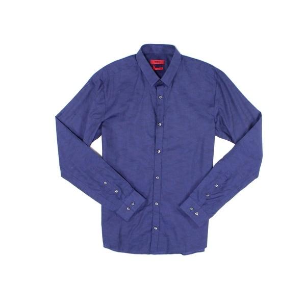 941e3b2243749 Shop Hugo Boss Navy Blue Mens Size Medium M Woven Button Down Shirt ...