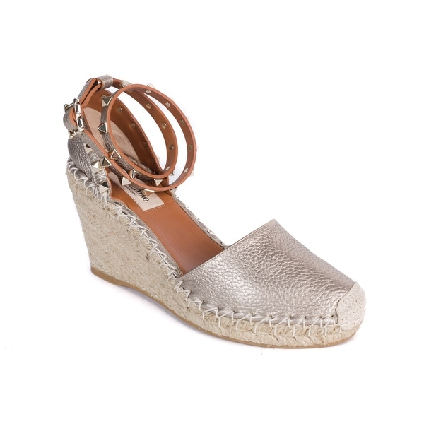 74b5bd9b8698 Shop Valentino Skin Beige Rockstud Espadrille Wedge Sandals - Free ...