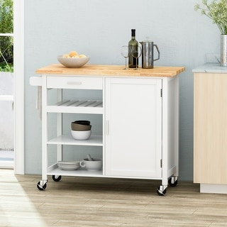 "Westcliffe Contemporary Kitchen Cart with Wheels by Christopher Knight Home - 41.75"" W x 18.90"" D x 35.25"" H"
