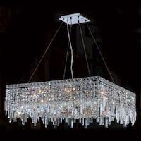 Worldwide Lighting W83614C28 Cascade 12-Light 1 Tier Crystal Suspension Chandelier - Polished chrome