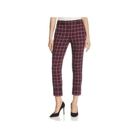 Theory Womens Cropped Pants Plaid Casual