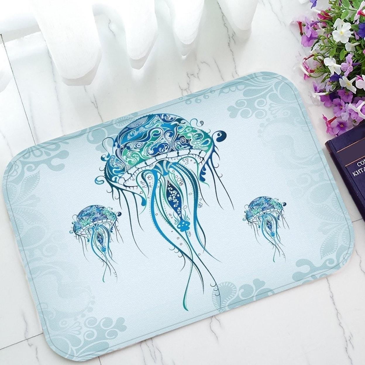 Jellyfish In The Blue Ocean Non Slip Doormat Indoor Outdoor Bathroom Doormat 23 6 X 15 7 Inches Multi Overstock 32350565