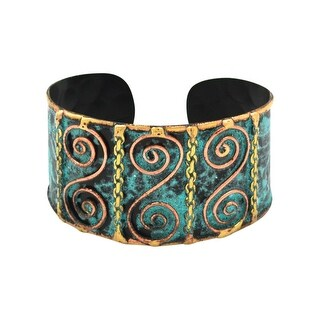 Anju Jewelry Women's Verdigris Patina Swirl Cuff Bracelet - Brass and Copper