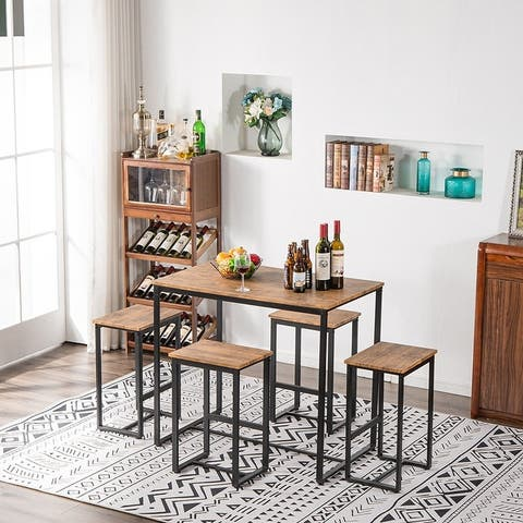 Carbon Loft Harden Walnut Finish 5-piece Counter Height Pub Dining Set
