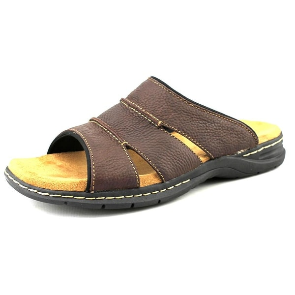 Dr. Scholl's Gordon Men Open Toe Leather Brown Slides Sandal