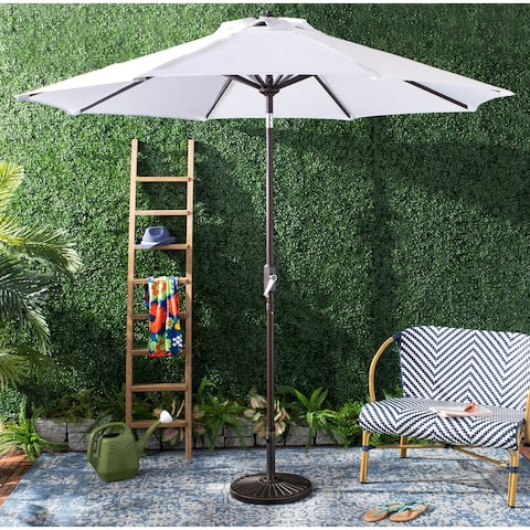 SAFAVIEH Outdoor Ortega 9 Ft Crank Umbrella, Base Not Included