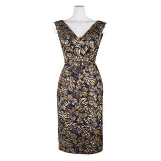 Prada Womens Navy Floral Jacquard Waist Bow Sleeveless Mini Dress