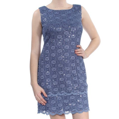 CONNECTED APPAREL Blue Sleeveless Above The Knee Sheath Dress Size 6