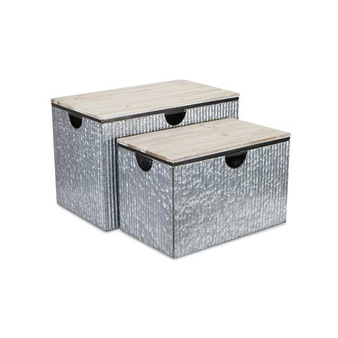 """Set of 2 Gray and Brown Rectangular Storage Trunks 23.75"""""""