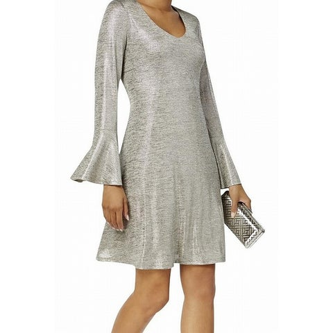 Connected Apparel Taupe Silver Women's Size 12 Bell Sleeve Dress