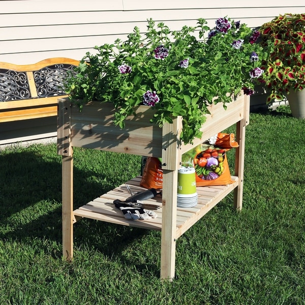 Shop Sunnydaze Raised Wooden Garden Bed Patio Planter Box With Shelf