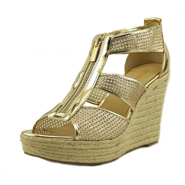 2f4ecb663a8 Shop Michael Michael Kors Damita Wedge Women Open Toe Canvas Gold ...